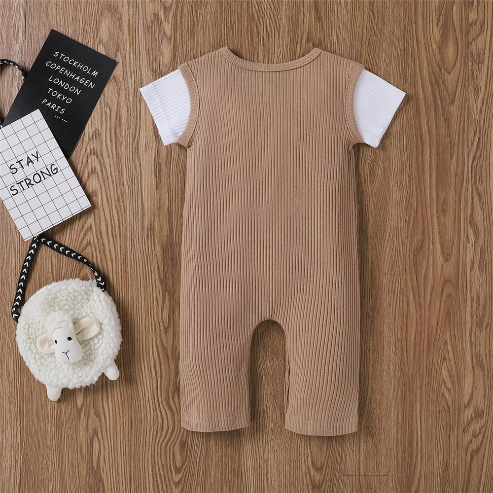 Baby Unisex Color Block Short Sleeve Button Romper Baby clothing Wholesale vendors - PrettyKid