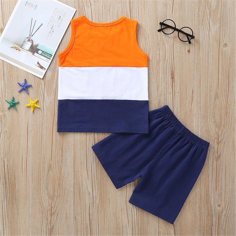 Boys Color Block Sleeveless Summer Top & Shorts Boy clothes Wholesale