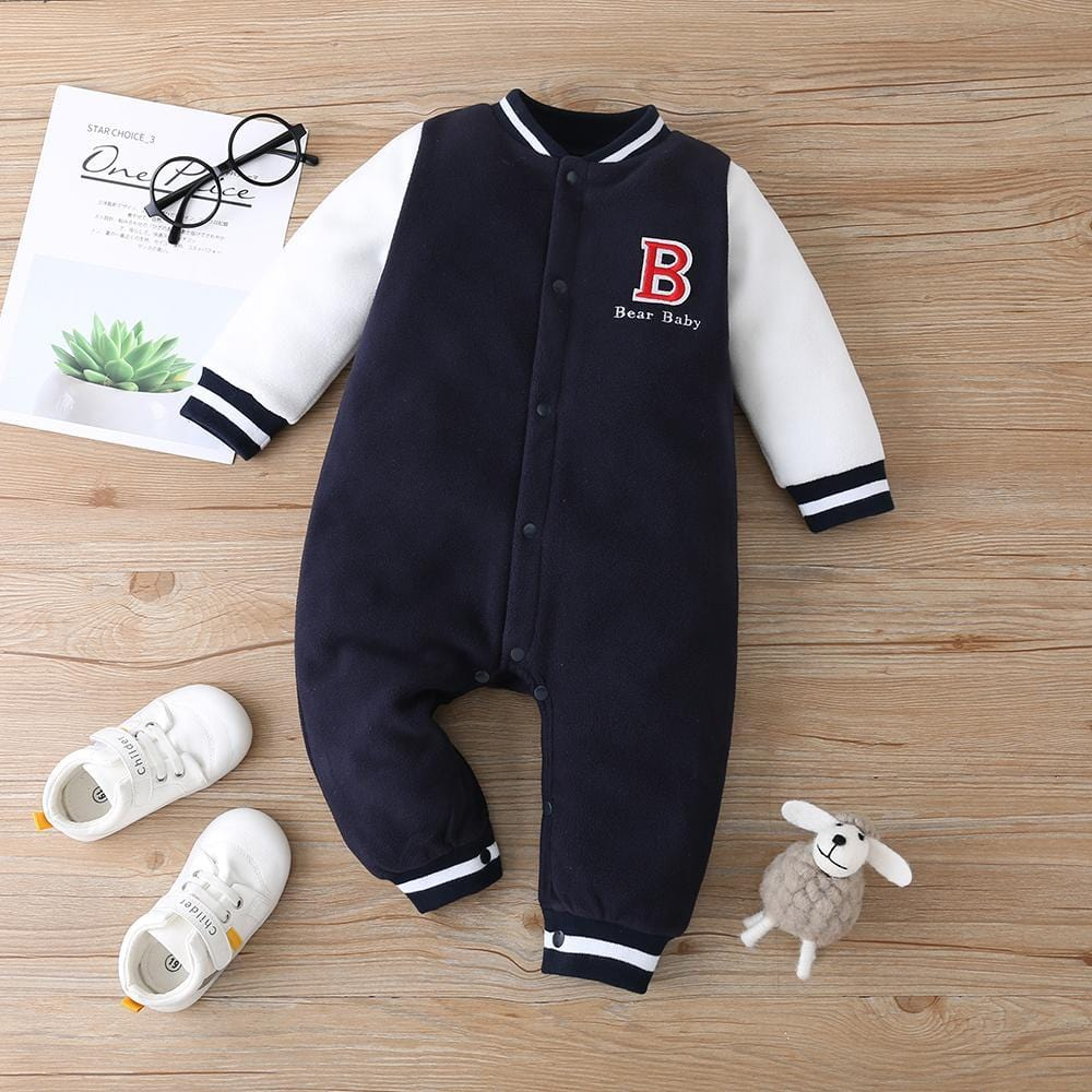Bear Baby Color Blocking Long Sleeve Romper Baby Clothes Suppliers - PrettyKid