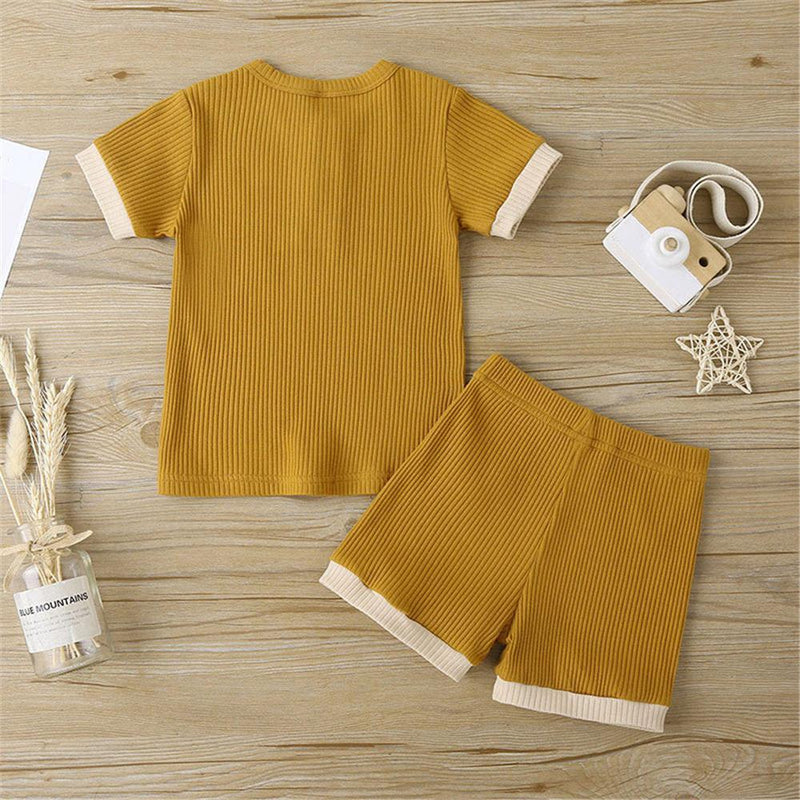 Unisex Color Contrast Short Sleeve Top & Shorts Kids Wholesale clothes Warehouse