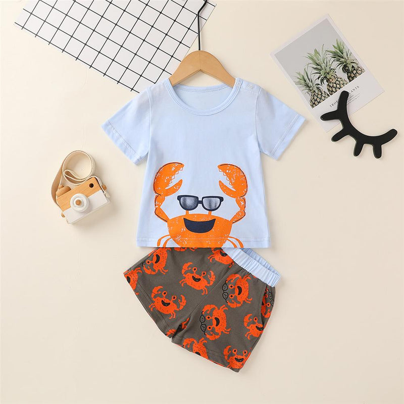 Baby Boys Crab Printed Short Sleeve Top & Shorts Wholesale Baby clothing