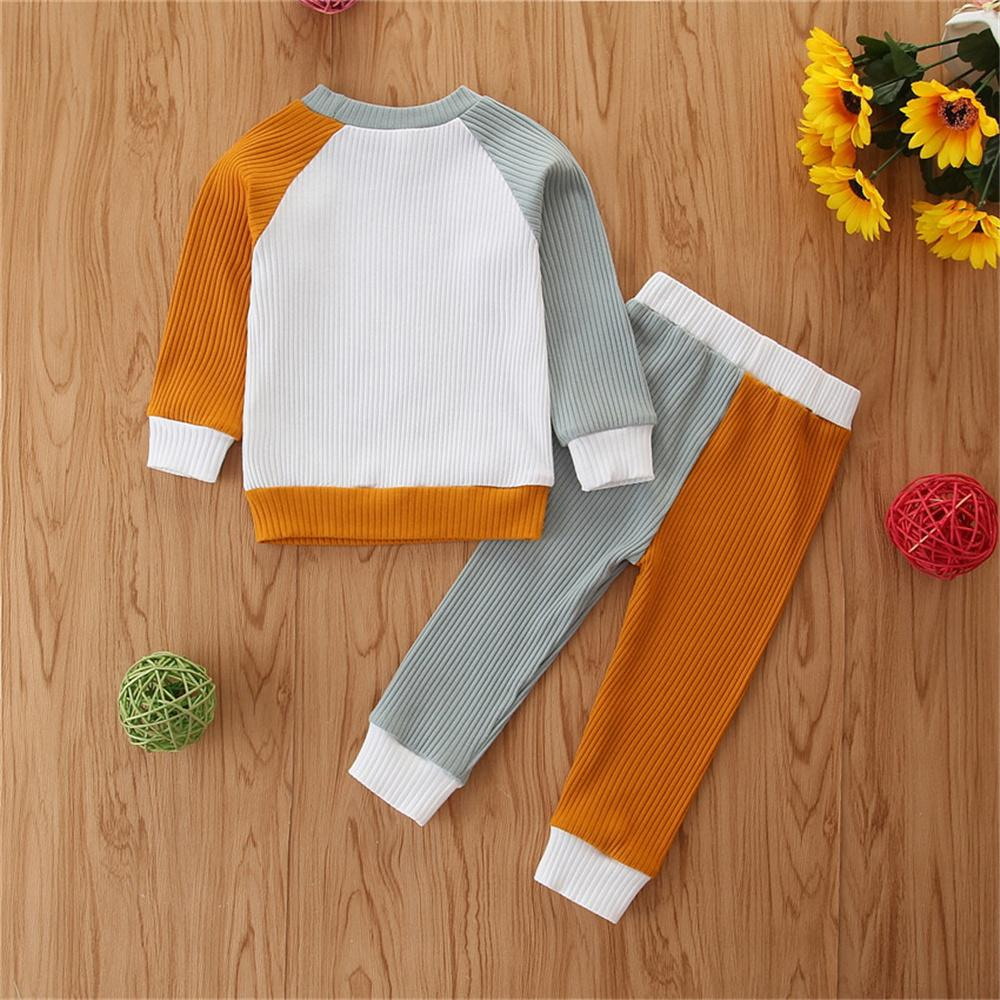 Baby Unisex Crew Neck Long Sleeve Color Contrast Top & Pants Wholesale Baby Clothes Suppliers - PrettyKid