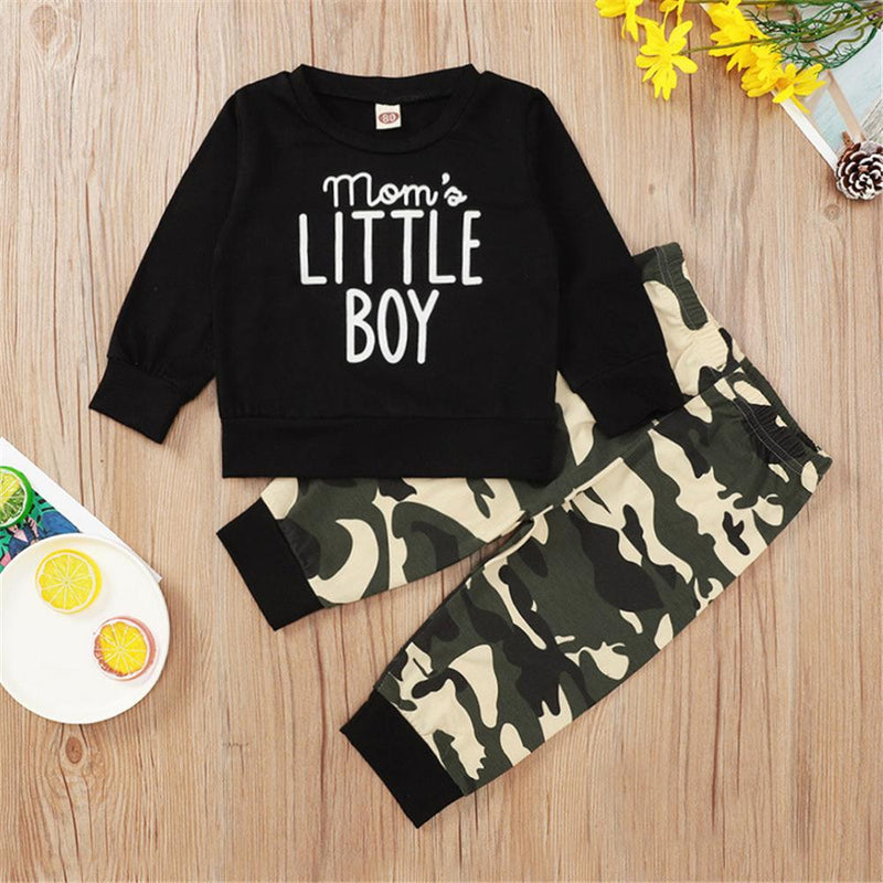 Baby Boys Crew Neck Long Sleeve Top & Camo Pants Boys Wholesale Clothing