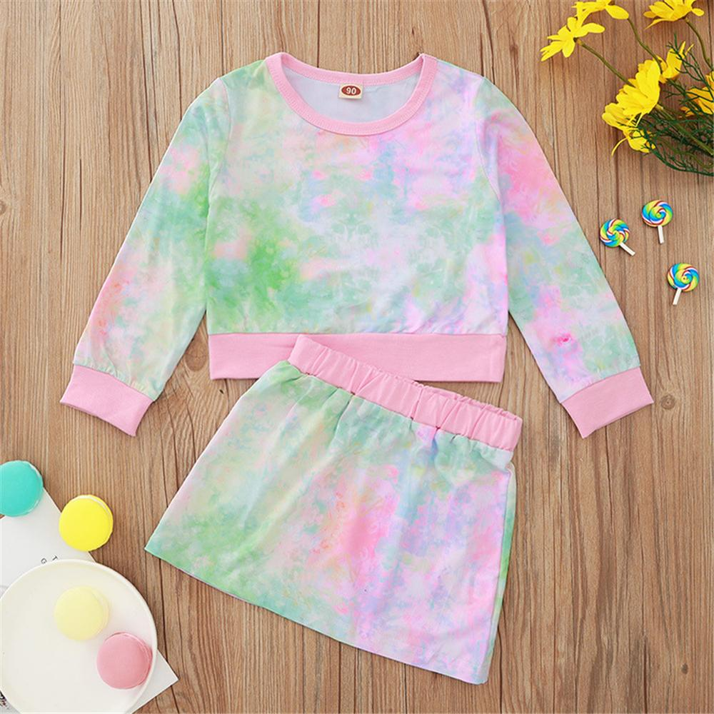 Girls Crew Neck Tie Dye Long Sleeve T-shirt & Skirt Girl T Shirts Wholesale - PrettyKid