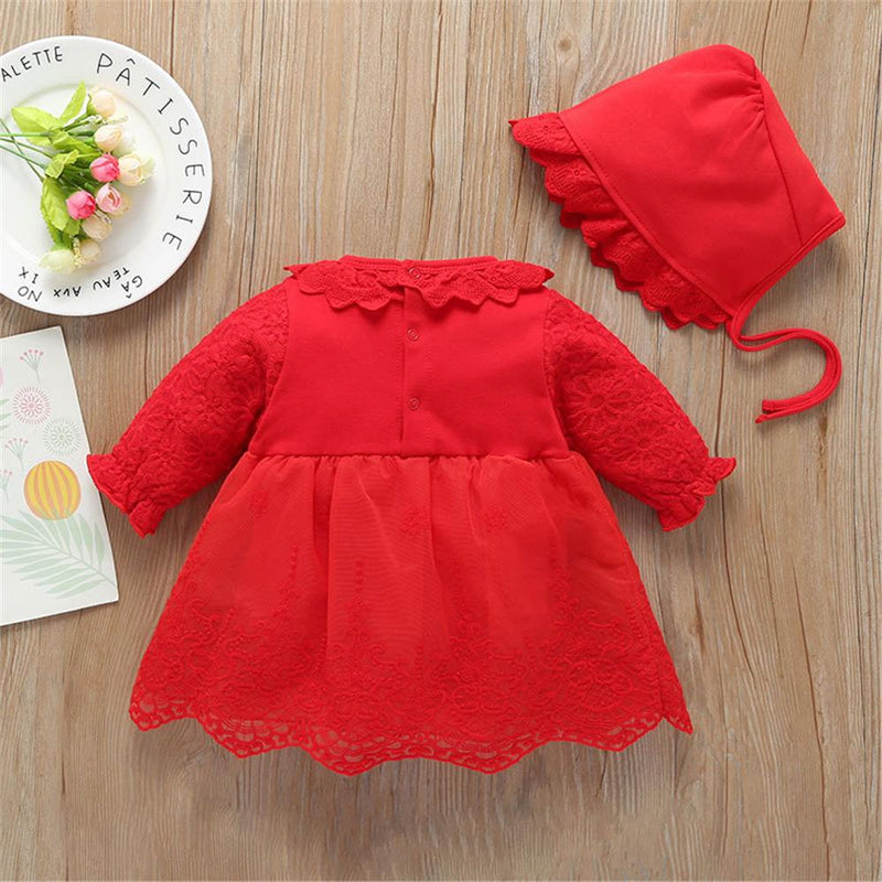 Baby Girls Cute Bow Long Sleeve Dress & Hat - PrettyKid