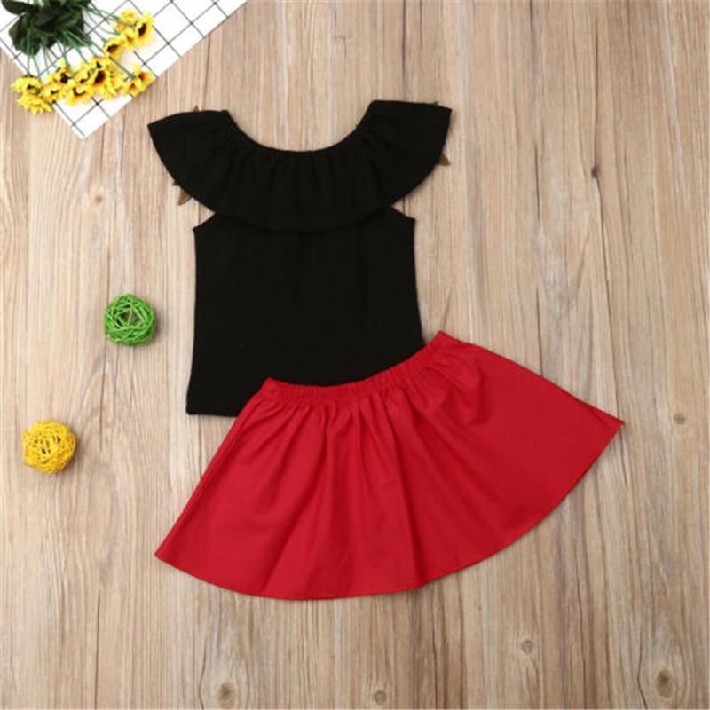 Toddler Girl Rose Embroidery Ruffle Trim Top Short Skirt