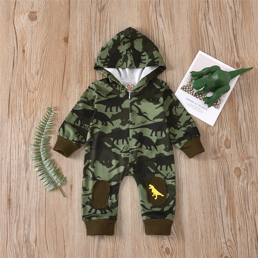 Baby Boys Dinosaur Printed Hooded Romper Baby Clothing Cheap Wholesale - PrettyKid