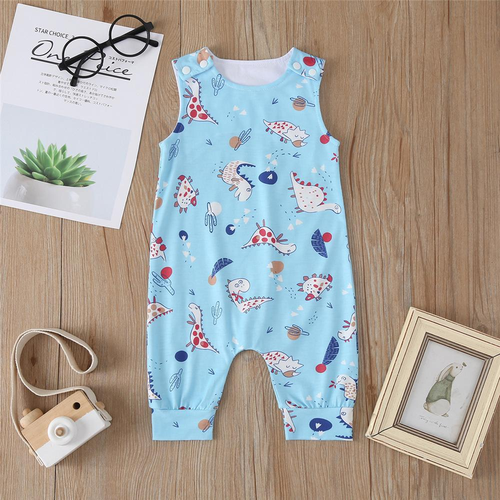 Baby Boys Dinosaur Printed Sleeveless Romper Wholesale Baby Outfits - PrettyKid