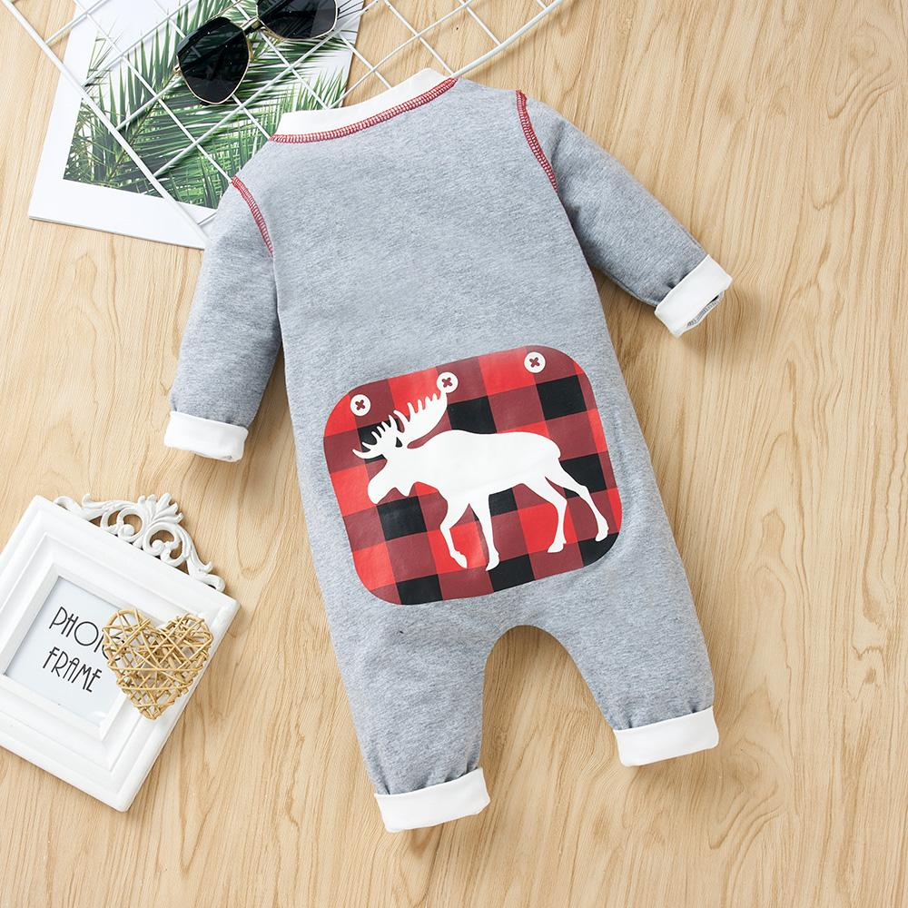 Baby Unisex Elk Printed Plaid Long Sleeve Romper Baby Clothes Wholesale Suppliers - PrettyKid