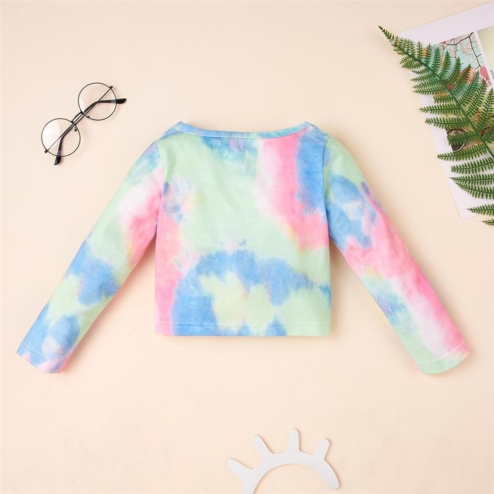 Toddler Girls Embroidery Tie Dye T-shirt Girls Clothing Wholesale
