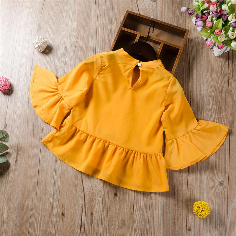 Girls Flare Sleeve Lace Sweet Blouse Wholesale Little Girl Clothes - PrettyKid