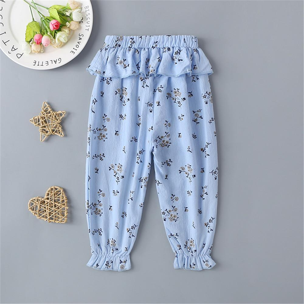 Baby Girls Floral Bow Ruffled Trousers