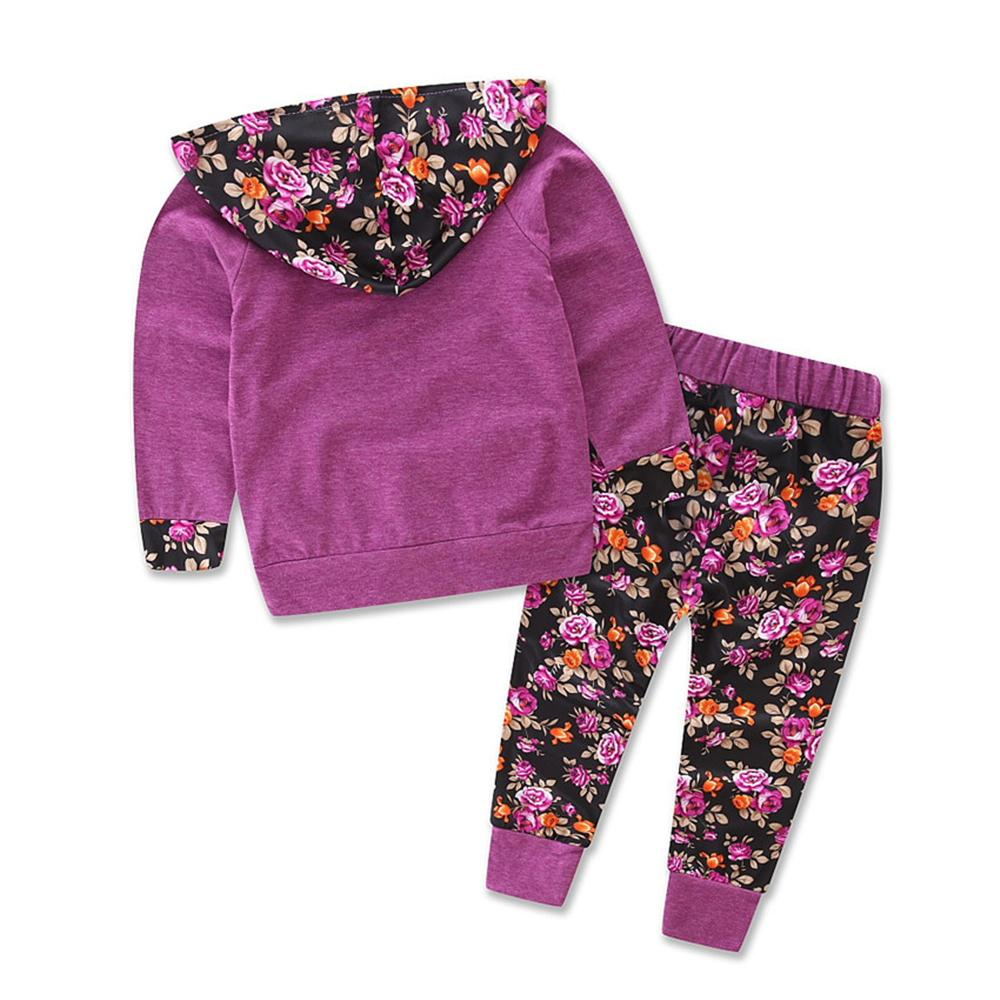 Girls Floral Long Sleeve Hooded Top & Pants Newborn Baby Girl Gowns