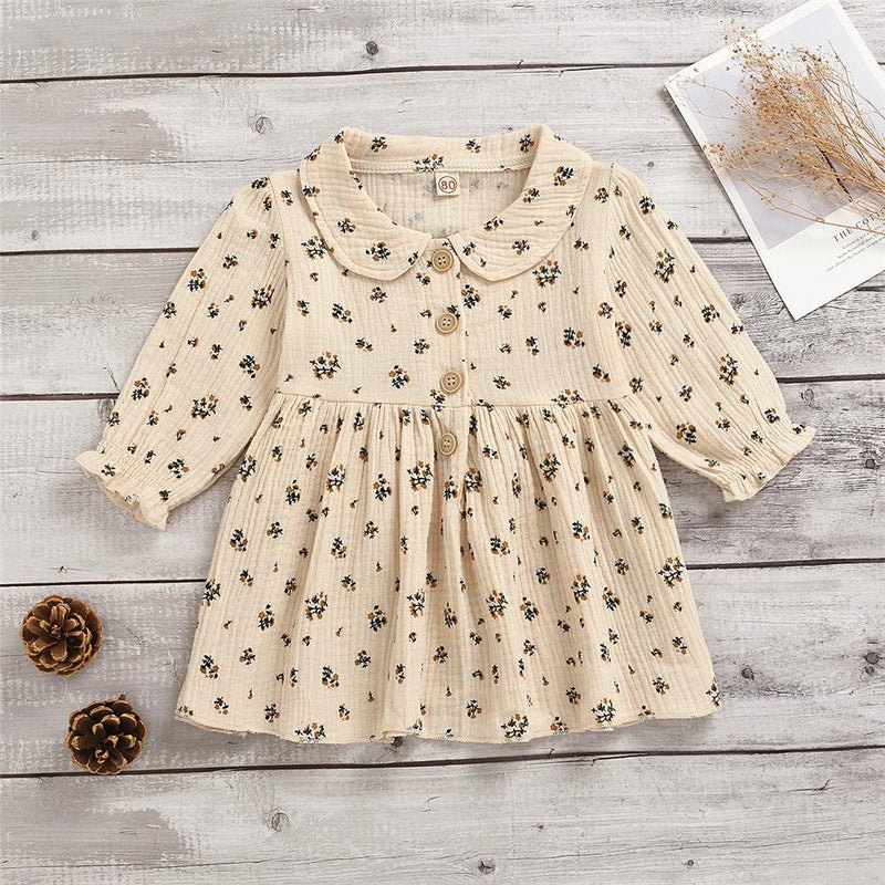 Girls Floral Pleated Lapel Long Sleeve Princess Dress