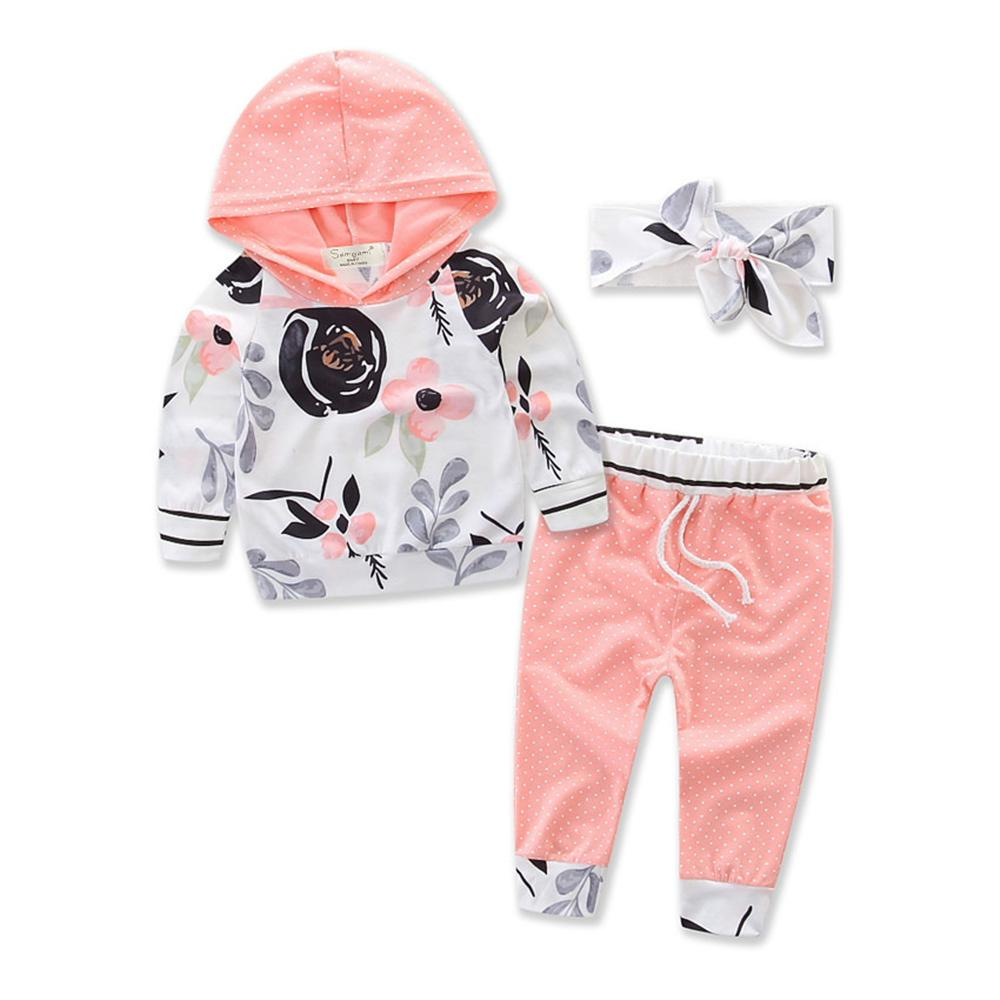 Baby Girls Floral Polka Dot Hooded Top & Pants Wholesale Baby Clothes - PrettyKid