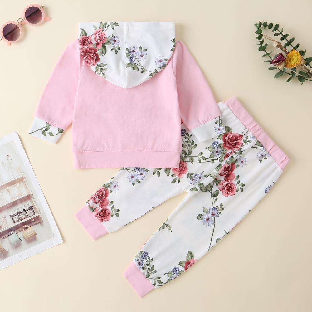 Baby Girls Floral Print Long Sleeve Hooded Jumper & Pants