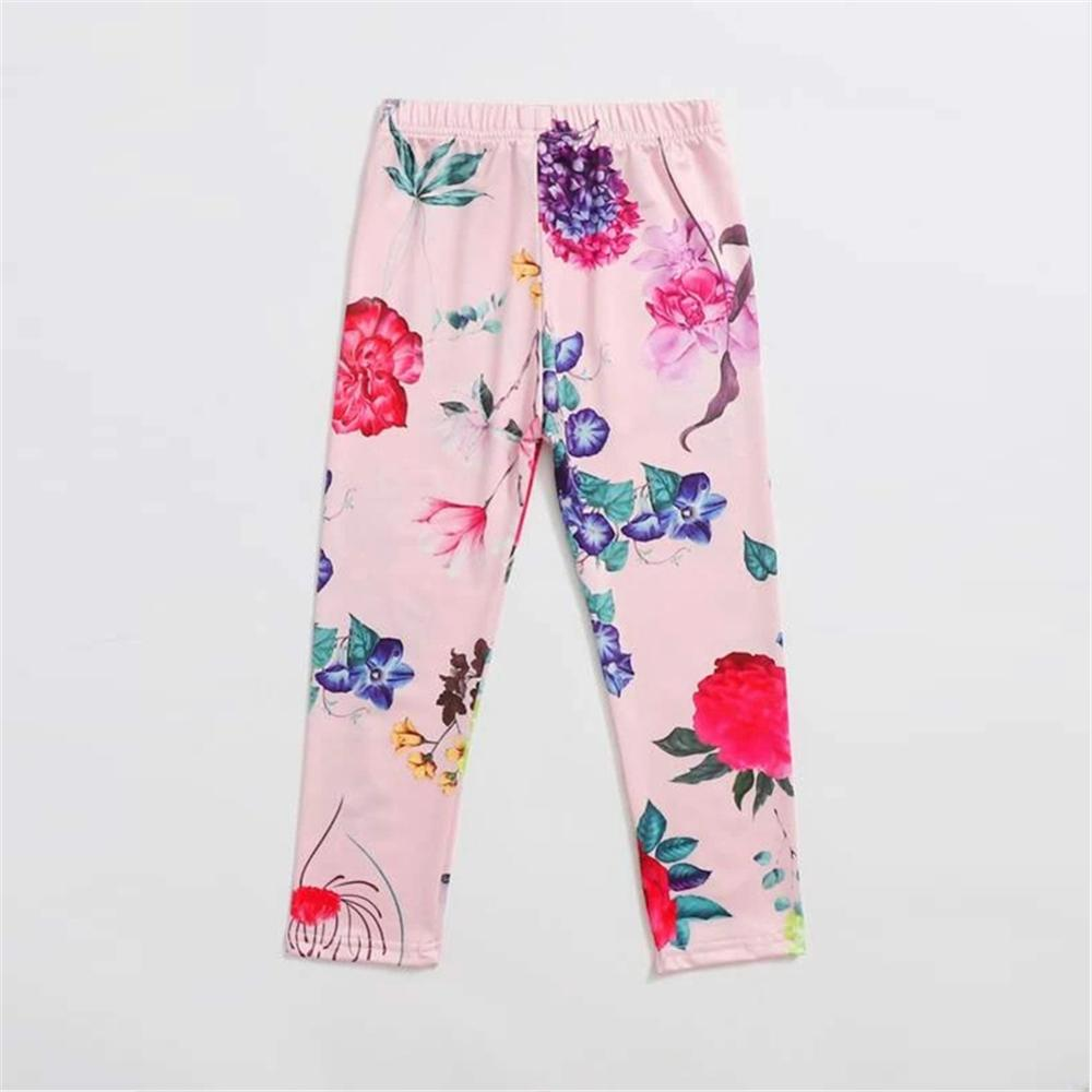 Toddler Girls Floral Printed Elastic Waist Pants Toddler Leggings Wholesale