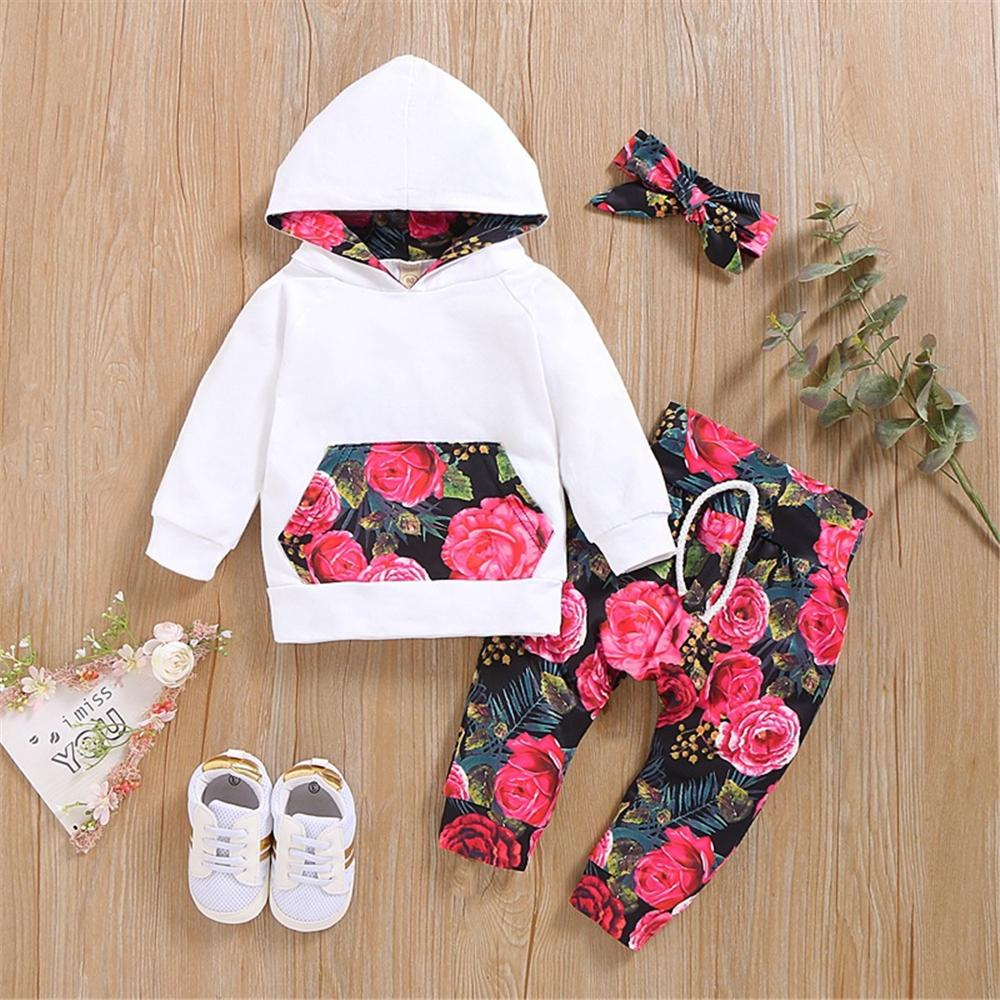 Baby Girls Floral Printed Hooded Long Sleeve Tracksuit Baby Wholesale - PrettyKid