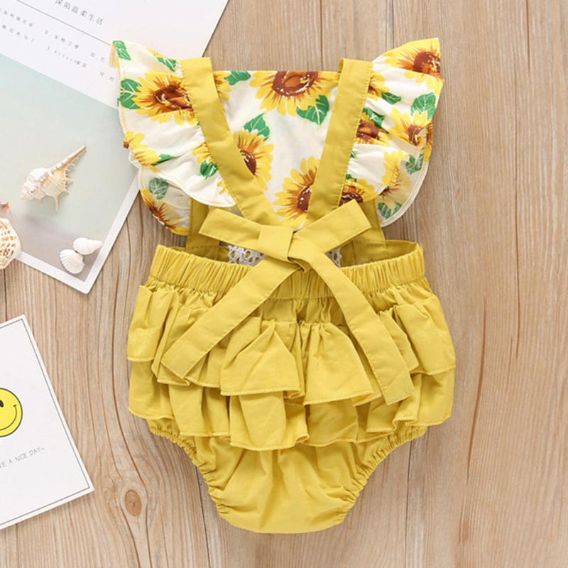 Baby Girls Floral Printed Lace Splicing Summer Romper & Headband Wholesale Baby Boutique Items in bulk