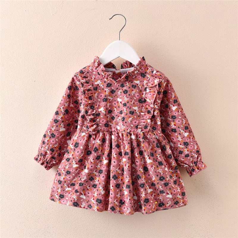 Toddler Girls Floral Printed Long Sleeve Corduroy Dress Girl Wholesale