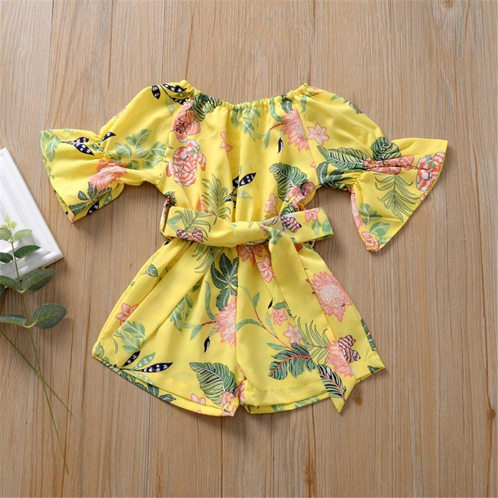 Girls Floral Printed Short Sleeve Belt Jumpsuit Baby Girl Boutique Clothing Wholesale - PrettyKid