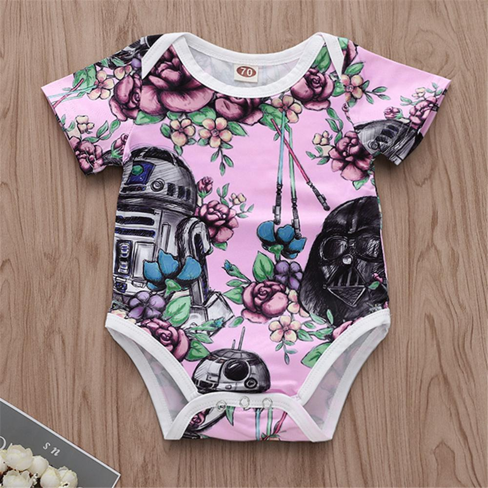 Baby Girls Floral Printed Short Sleeve Romper Wholesale Clothing Baby - PrettyKid