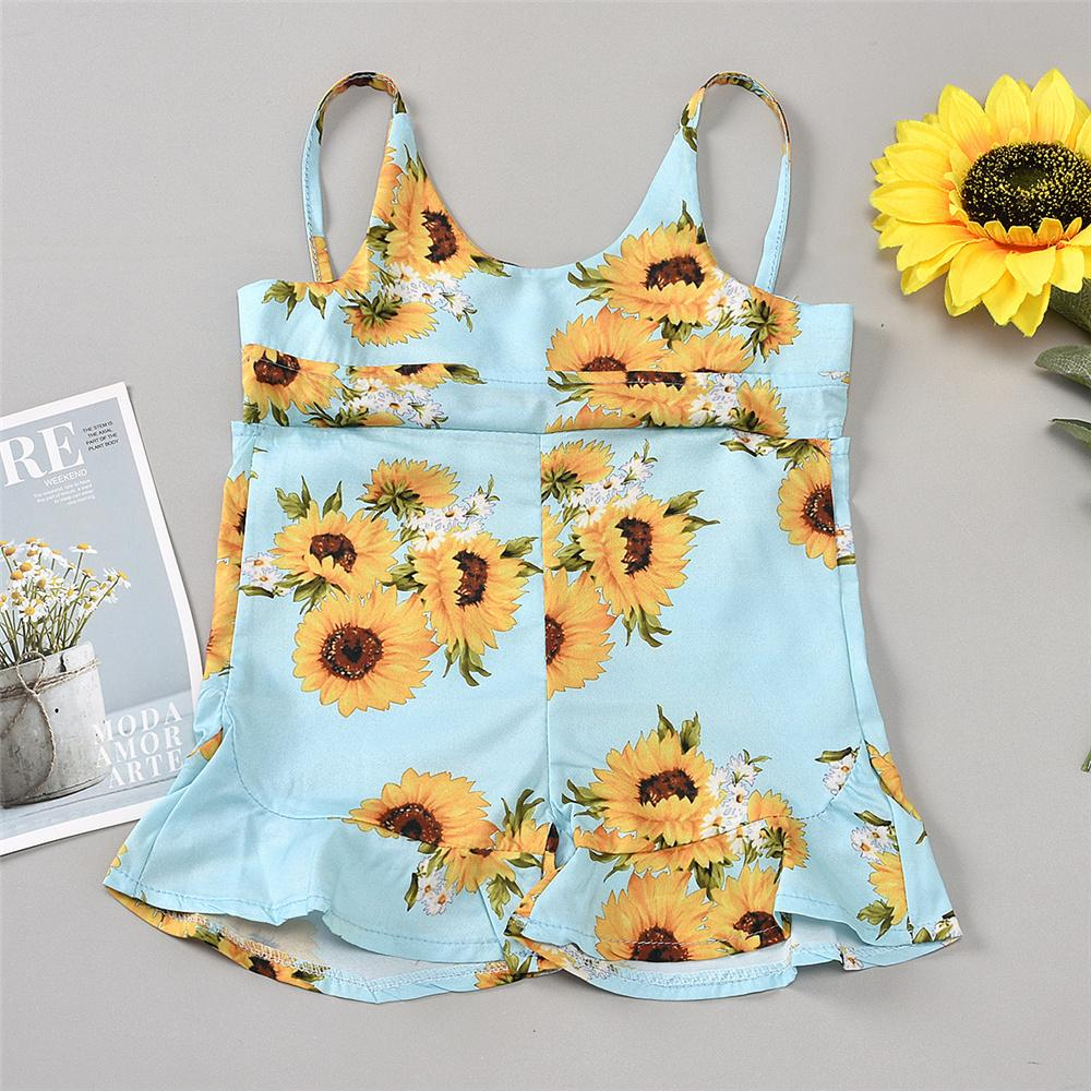 Girls Floral Printed Sleeveless Summer Jumpsuit Baby Clothes Wholesale Suppliers - PrettyKid