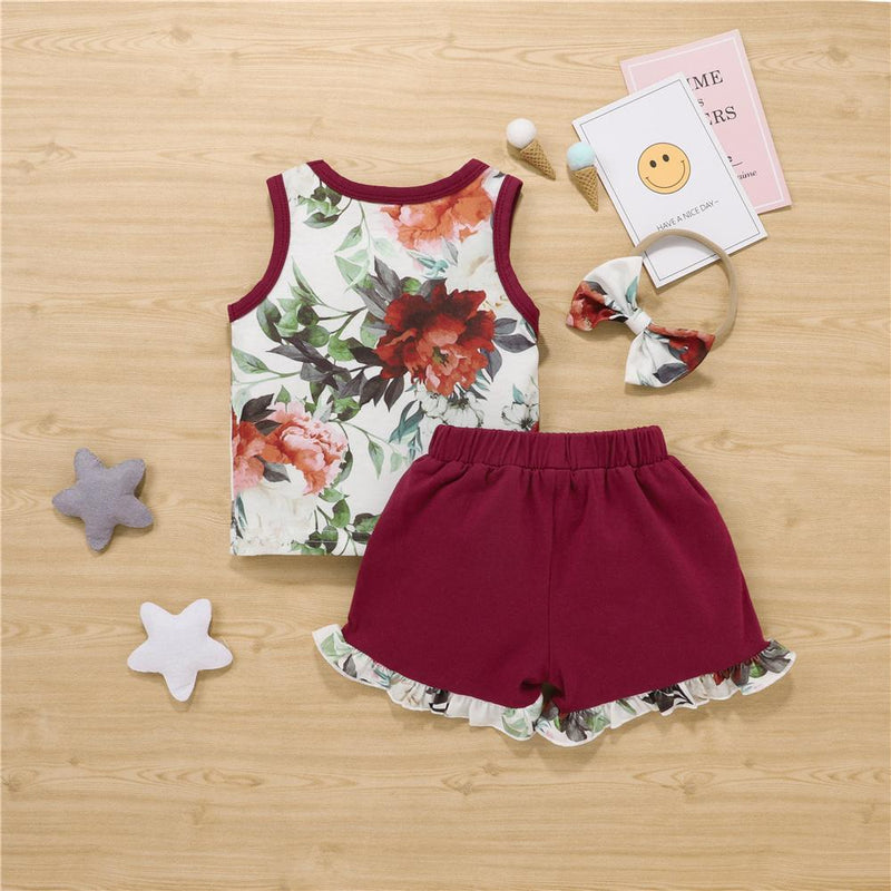 Baby Girls Floral Printed Sleeveless Top & Shorts & Headband Boutique Baby clothing Wholesale