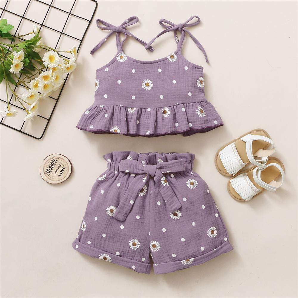 Toddler Girls Floral Printed Sling Top & Shorts Supplierskid clothing vendors for boutiques