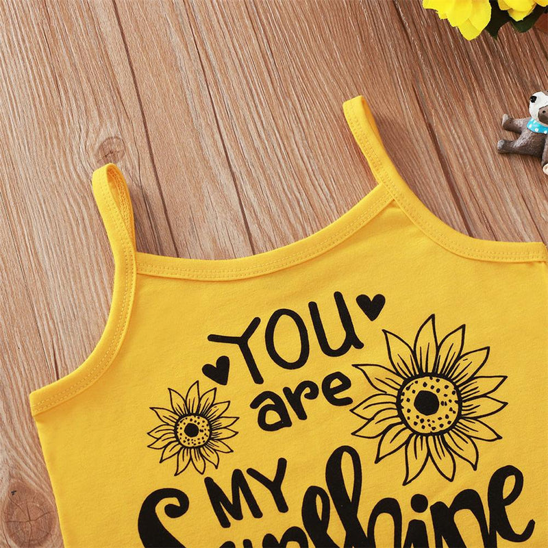 Girls Floral You Are My Sunshine Printed Tank Top & Shorts Kids Wholesale clothes