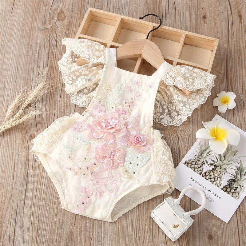 Baby Girls Flower Lace Sling Flying Sleeve Romper Baby clothing vendors - PrettyKid