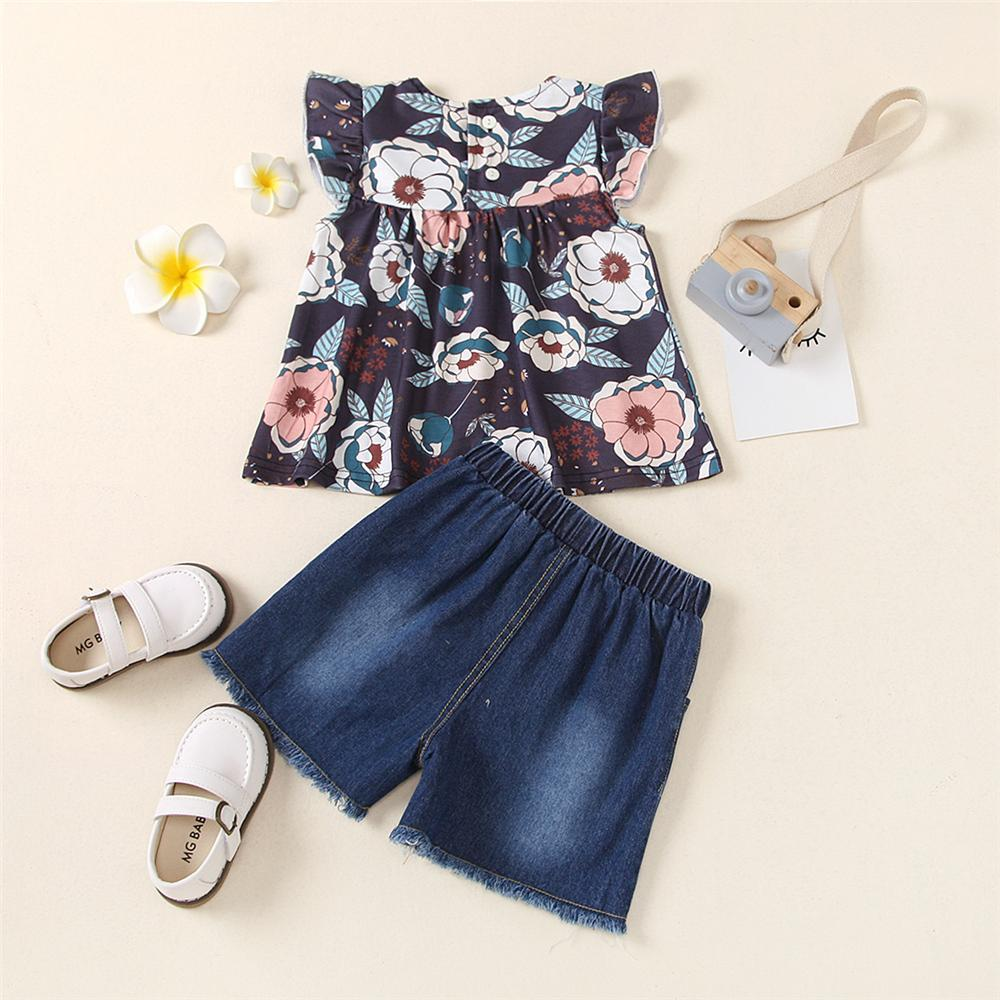 Toddler Girls Flying Sleeve Floral Printed Top & Denim Ripped Shorts kids garments wholesale