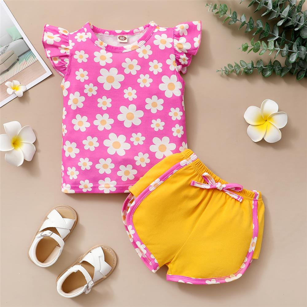 Toddler Girls Flying Sleeve Flower Printed Top & Shorts best wholesale baby clothes