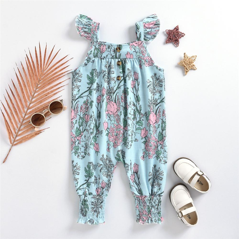 Baby Girls Fyling Sleeve Floral Printed Romper childrenswear wholesale - PrettyKid