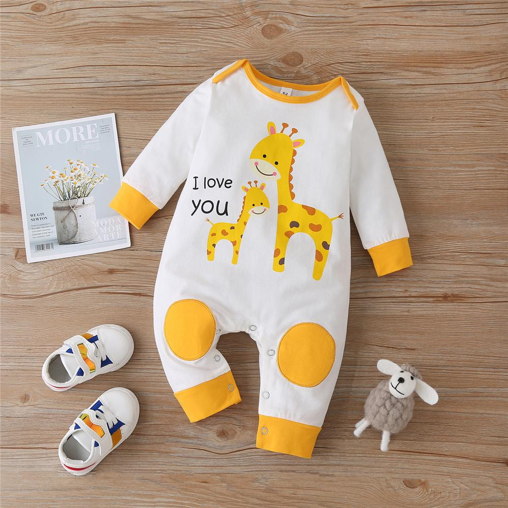 Baby Unisex Giraffe I Love You Long Sleeve Romper Baby Outfits - PrettyKid