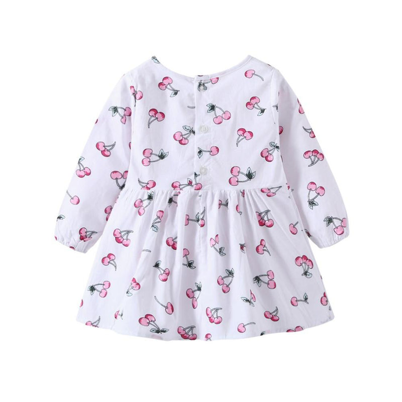 Girls Cherry  Print Long Sleeve  Dress Wholesale Girl Clothing