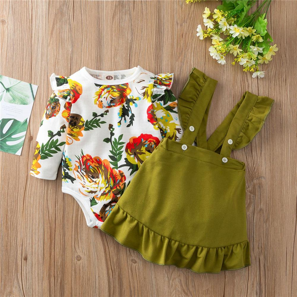 Baby Girls Floral Printed Romper & Suspender Dress Baby Clothes Vendors - PrettyKid