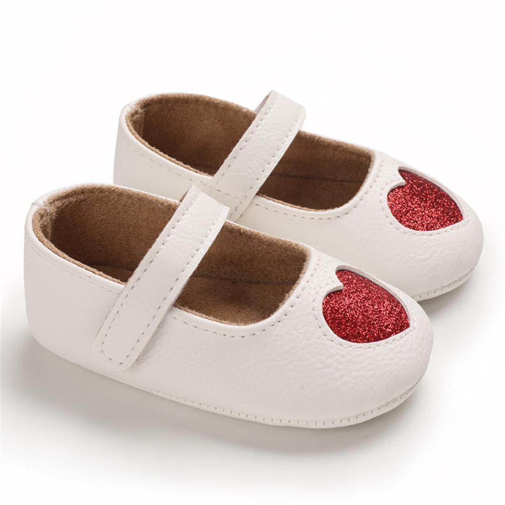 Baby Girls Heart Non-Slip Soft Magic Tape Flats Girls Shoes Wholesale - PrettyKid