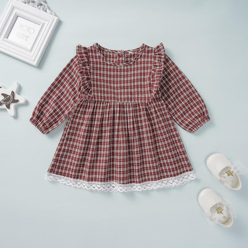 Girls Long Sleeve Casual Plaid A-line Dress Toddler Girls Wholesale