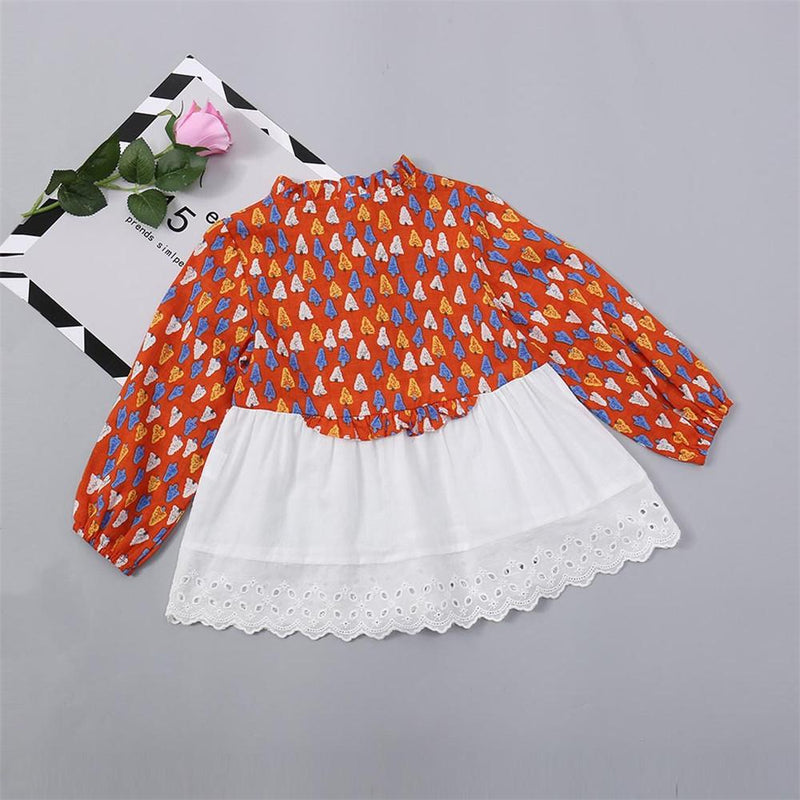Girls Long Sleeve Printed Dress Baby Girl Boutique Clothing Wholesale