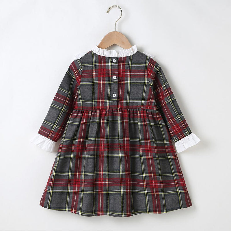 Girls Long Sleeve Plaid A-line Dress Girls Wholesale Dresses - PrettyKid