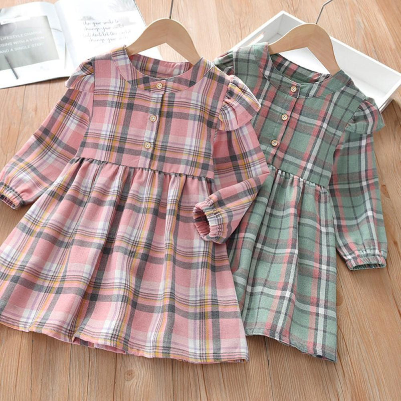 Girls Plaid Long Sleeve Dress Wholesale Little Girls Clothes