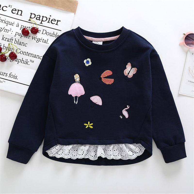 Girls Round Neck Printed Cotton Long Sleeve Tops Girls Boutique Wholesale