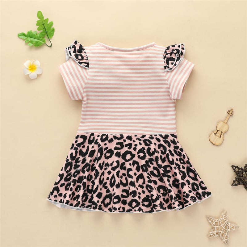 Baby Girls Ruffled Striped Leopard Bow Decor Short Sleeve Dress Wholesale Baby Boutique Items