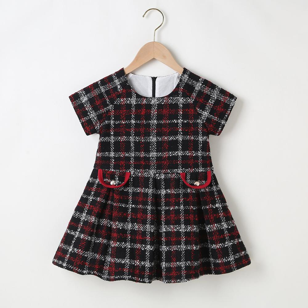 Girls Short Sleeve Elegant Plaid A-line Dress Wholesale Girls Accessories - PrettyKid
