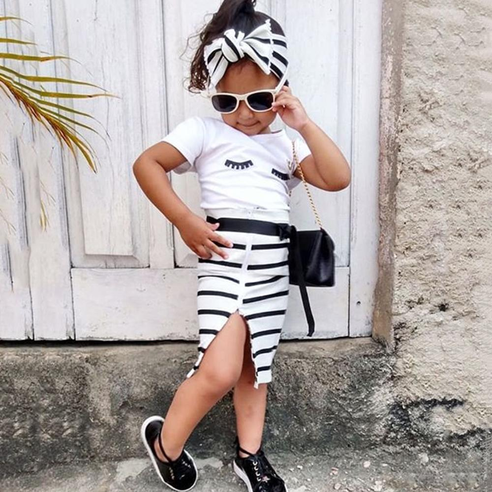 Girls Short Sleeve Eyelashes Printed Top & Striped Skirt & Headband Buy Kids Clothes Wholesale
