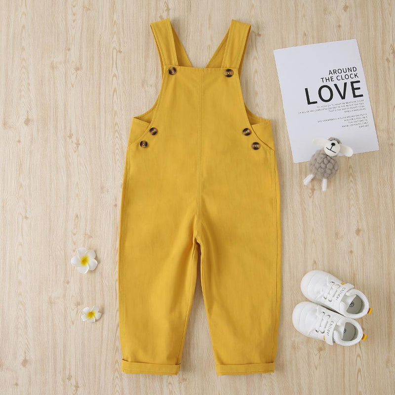 Girls Solid Cotton Casual Loose Jumpsuit Wholesale Boutique Girl Clothing