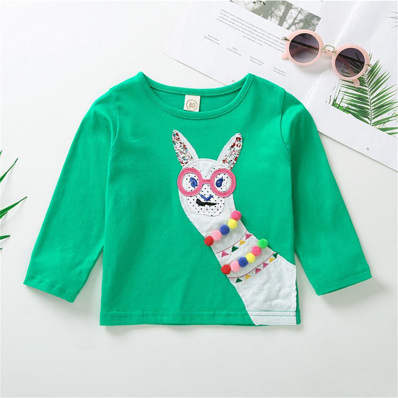 Girls Unisex Long Sleeve Printed Alpaca Tops Bulk Childrens Clothing Suppliers