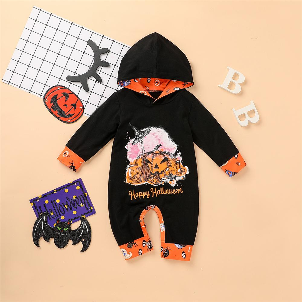 Baby Halloween Printed Hooded Cute Romper Baby Wholesale Clothes - PrettyKid