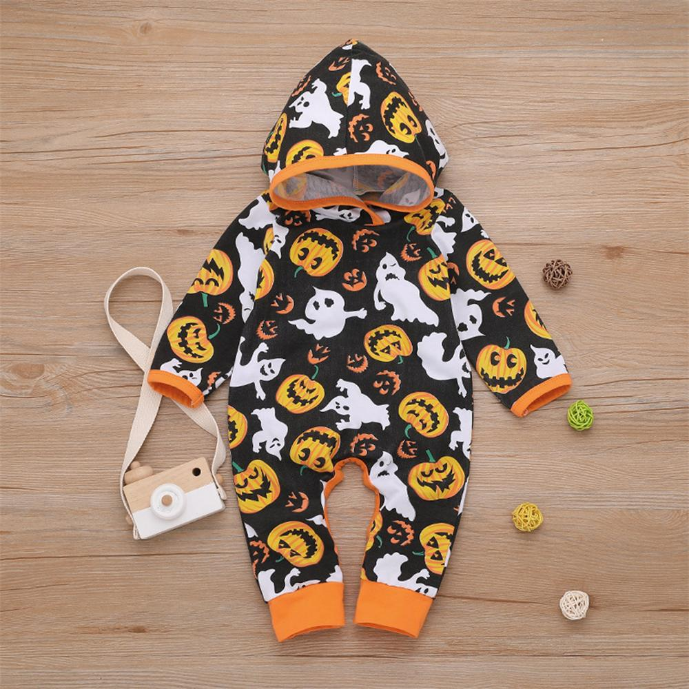 Baby Unisex Halloween Printed Long Sleeve Hooded Romper Wholesale - PrettyKid